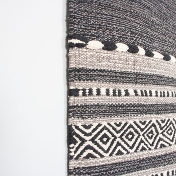 Medium black and white dhurrie rug | Gallery 1 | TradeAid