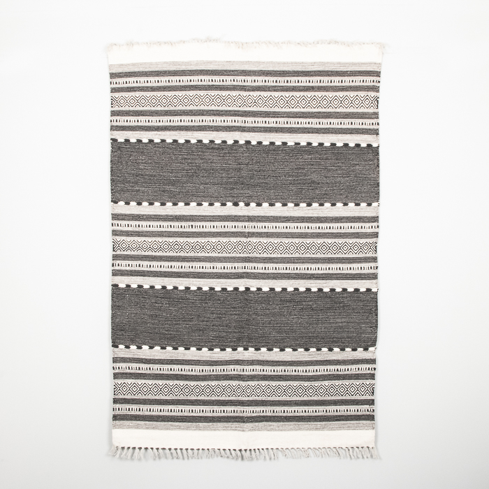 Large black and white dhurrie rug | TradeAid
