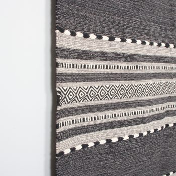 Large black and white dhurrie rug | Gallery 1 | TradeAid