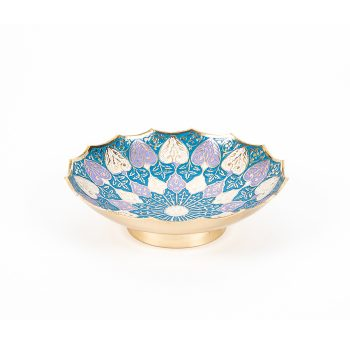 Brass bowl with meena work leaf design | TradeAid