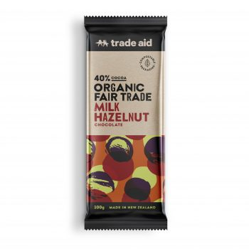 Organic 40% milk hazelnut chocolate – 100g | TradeAid