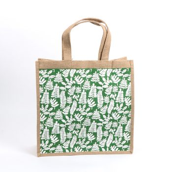 Green fern lined jute bag | TradeAid