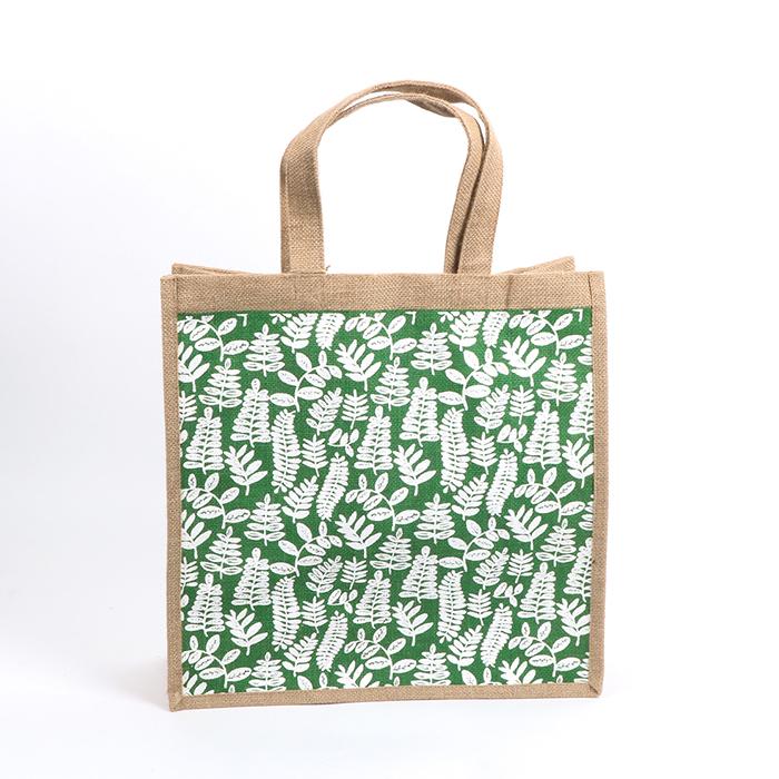 Green fern lined jute bag | TradeAid