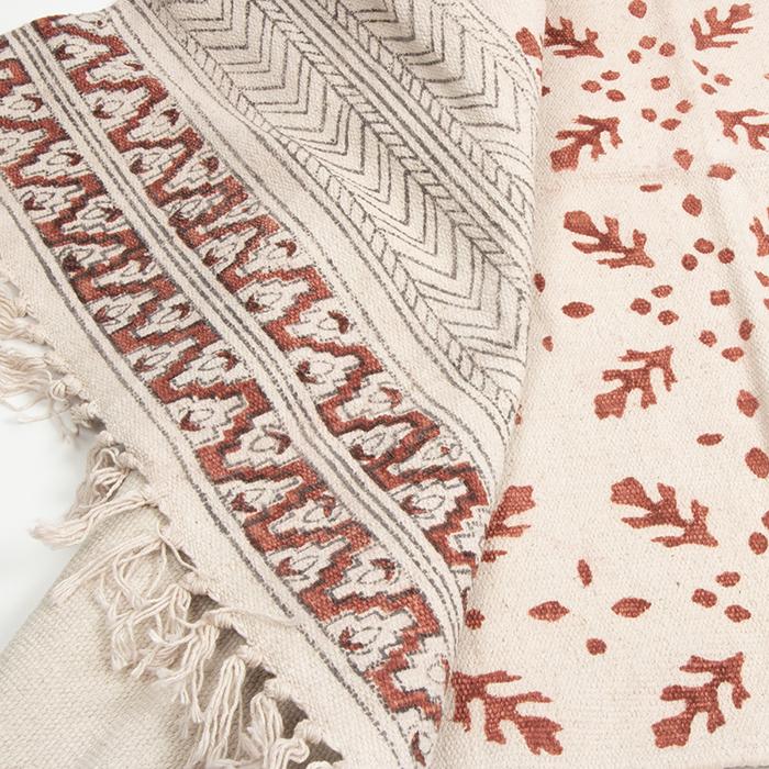 Coral kalamkari rug | TradeAid