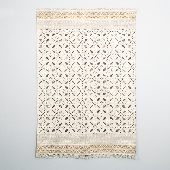 Black and mustard kalamkari rug | Gallery 1 | TradeAid