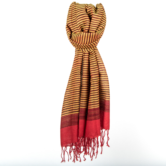 Red and yellow wool scarf | TradeAid