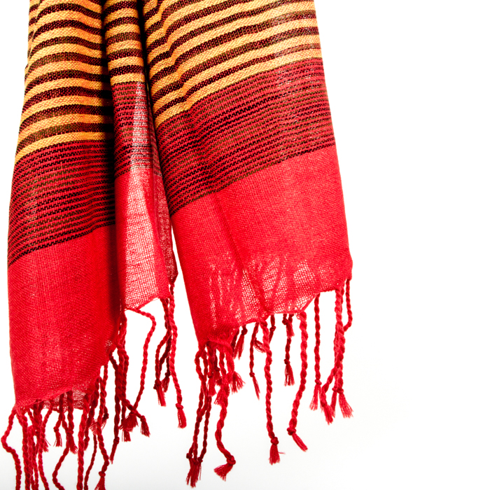 Red and yellow wool scarf | Gallery 1 | TradeAid