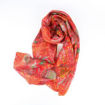 Red botanic scarf | TradeAid