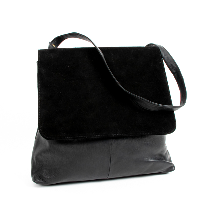 Black suede and leather bag | TradeAid
