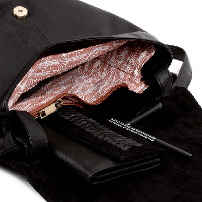 Black suede and leather bag | Gallery 1 | TradeAid