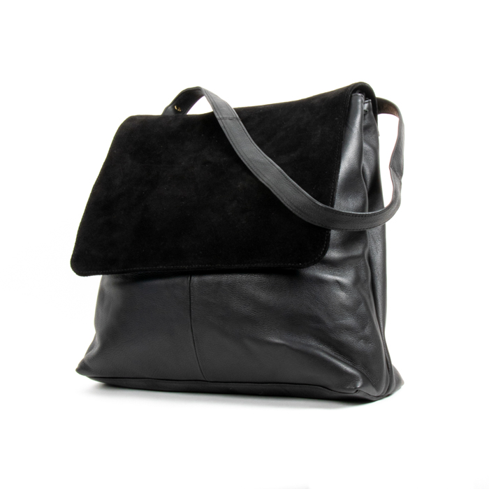 Black suede and leather bag | Gallery 2 | TradeAid