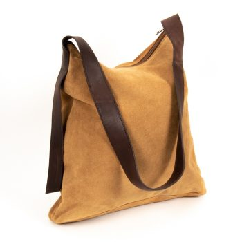 Tan suede slouch bag | TradeAid