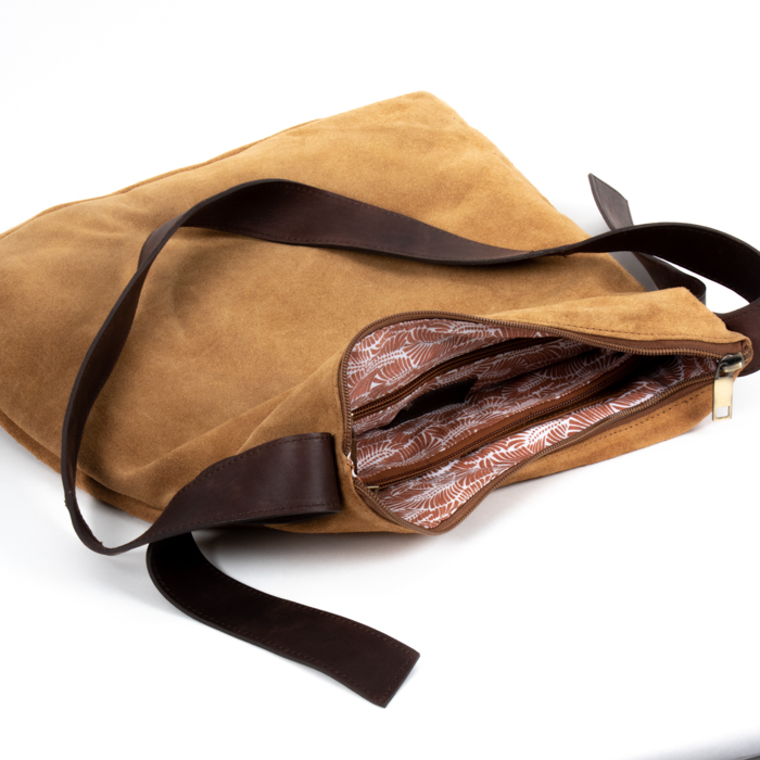 Tan suede slouch bag | Gallery 1 | TradeAid