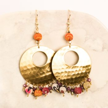 Fabric and glass earrings | TradeAid