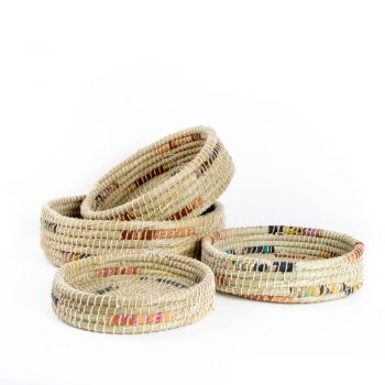 Recycled fabric kaisa tray baskets (set of four) | TradeAid