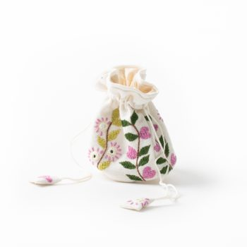 Pink and green jewellery pouch | TradeAid