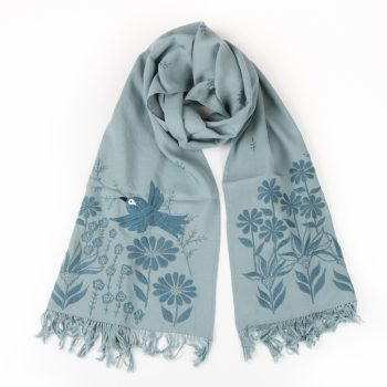 Green embroidered scarf | TradeAid