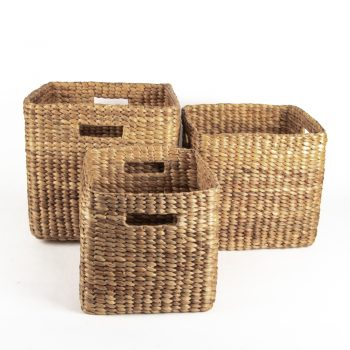Square water hyacinth basket (set of three) | Gallery 1 | TradeAid