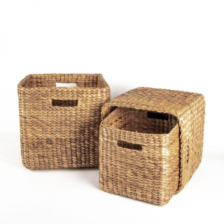 Square water hyacinth basket (set of three) | TradeAid