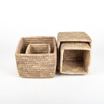Square date palm baskets (set of four) | TradeAid
