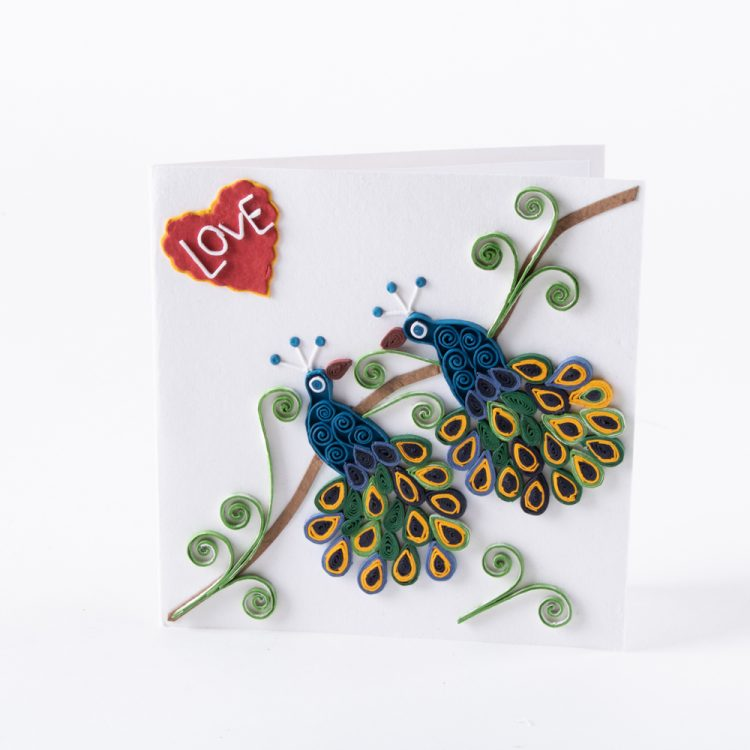 Quilled peacock card | TradeAid