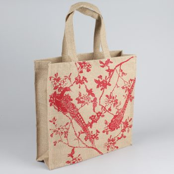 Red tree and peacock unlined jute bag | TradeAid