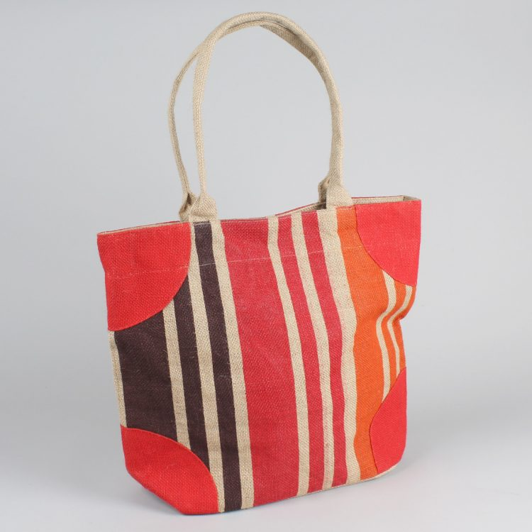Autumn striped lined jute bag | Gallery 1 | TradeAid