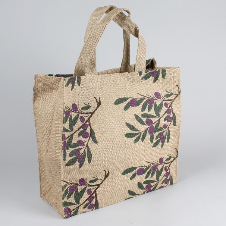 Olive print lined jute bag | TradeAid