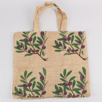 Olive print lined jute bag | TradeAid