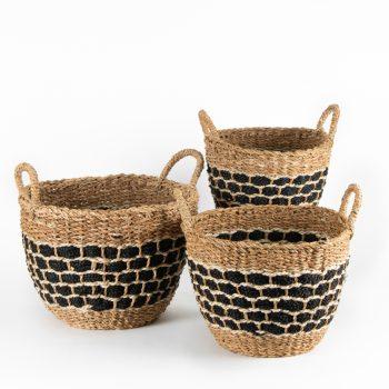 Hogla and jute basket (set of three) | TradeAid
