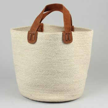 Jute basket with suede handles | TradeAid
