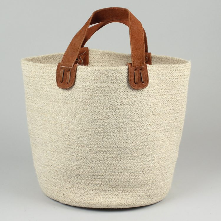 Jute basket with suede handles   TradeAid