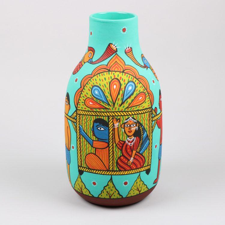 Bride on palki design nakshi kantha painted vase | TradeAid