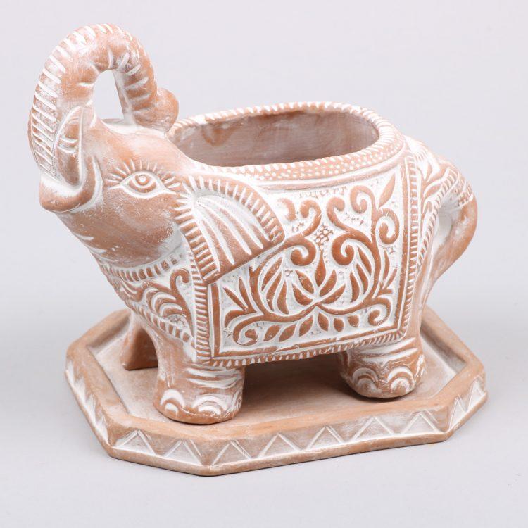 Elephant planter with saucer   TradeAid