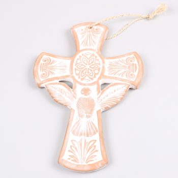 Whitewash clay cross with dove and leaf | TradeAid