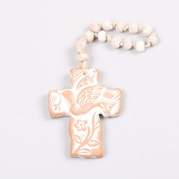 Small red whitewash clay cross with dove | TradeAid