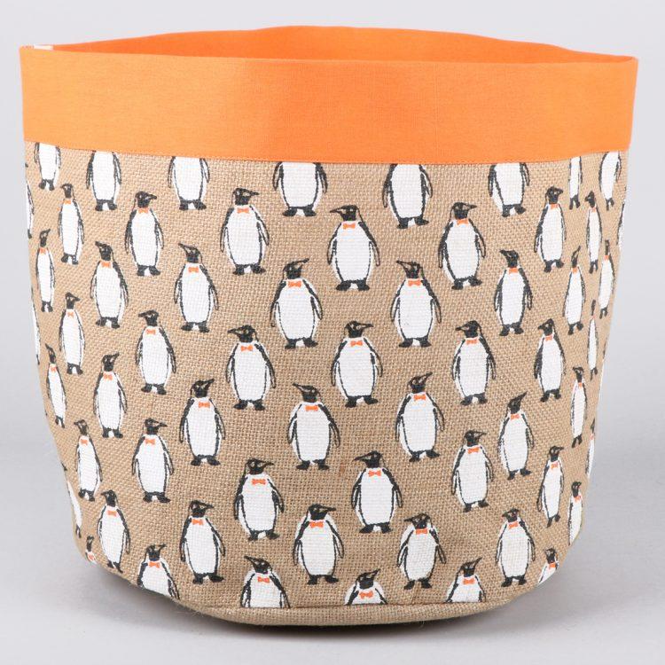 Penguin print jute toy box | TradeAid