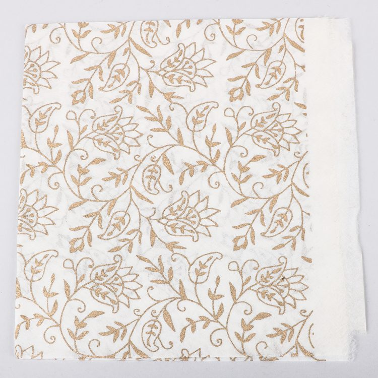 Gold floral print on white silk gift wrap | TradeAid