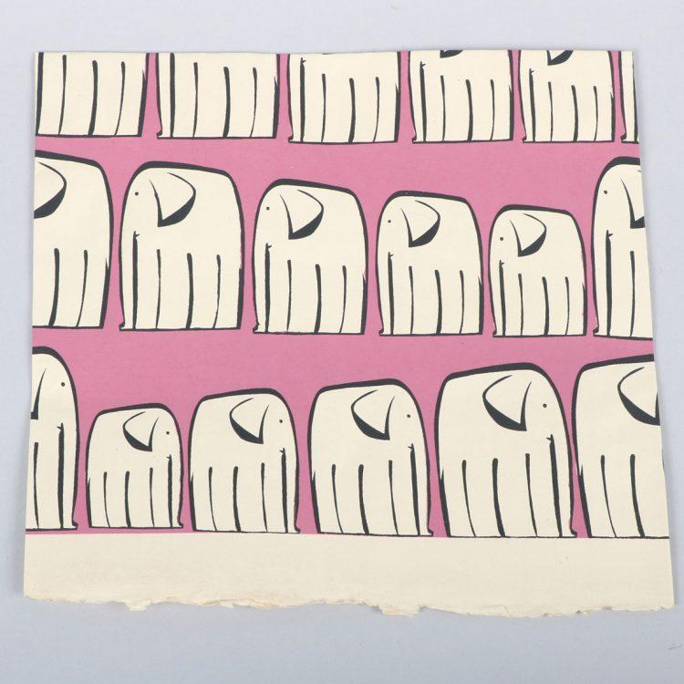 Pink elephant print gift wrap | TradeAid