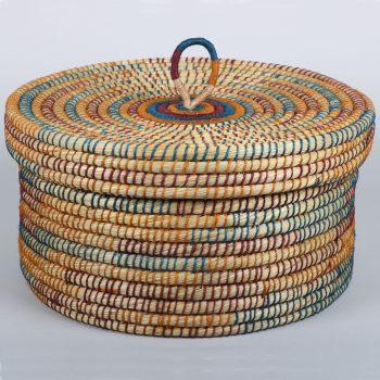 Kaisa and coloured jute lidded storage basket | TradeAid