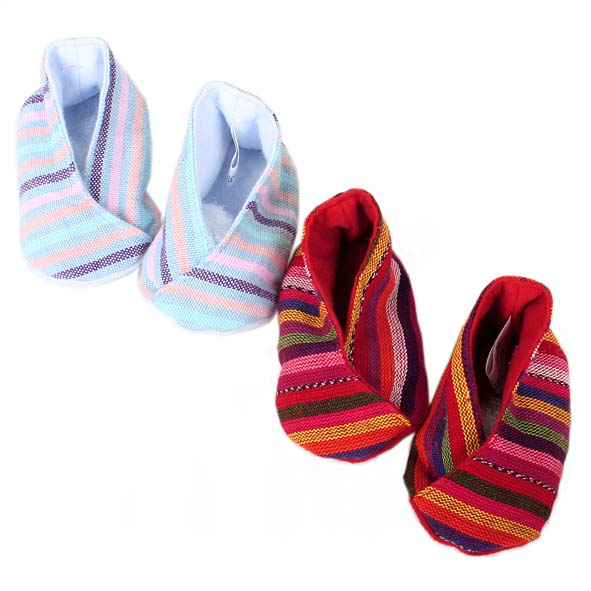 Handwoven striped baby booties   TradeAid