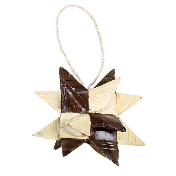 Woven 3d 2 colour star hanging decoration | TradeAid