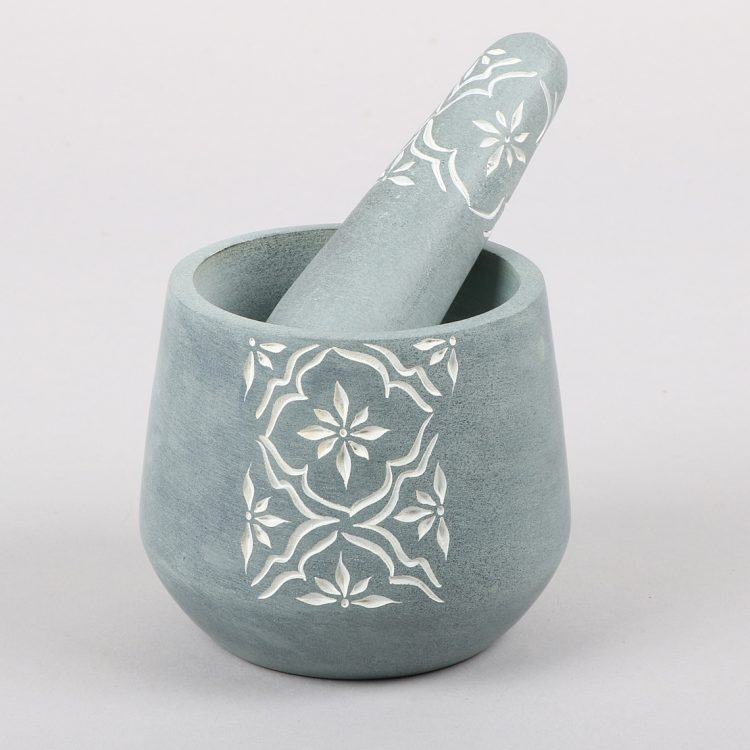 Engraved palewa stone mortar and pestle | TradeAid