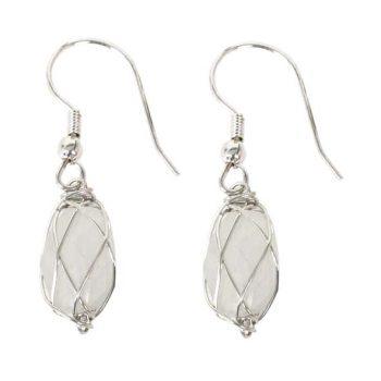 White stone bead earrings | TradeAid