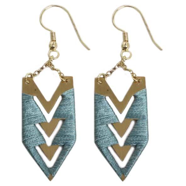 Arrow earrings with blue threadwork | TradeAid