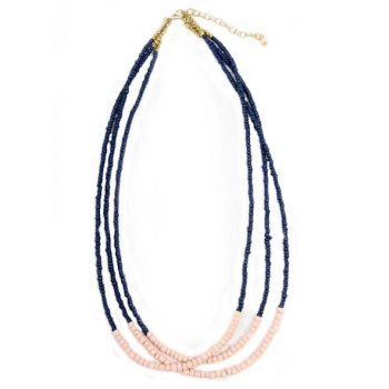 Blue and peach 3 string glass bead necklace | TradeAid