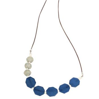 Blue and grey resin bead necklace | TradeAid