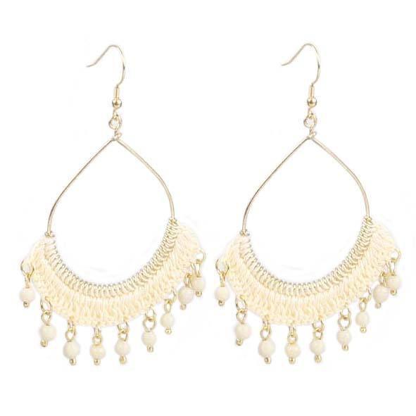 Cream crochet and bead hoop earrings | TradeAid