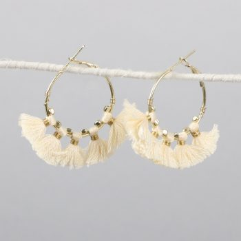 Hoop earrings with white tassels | TradeAid