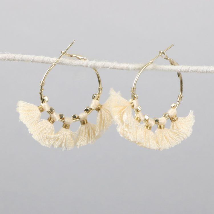 Hoop earrings with white tassels | Gallery 1 | TradeAid